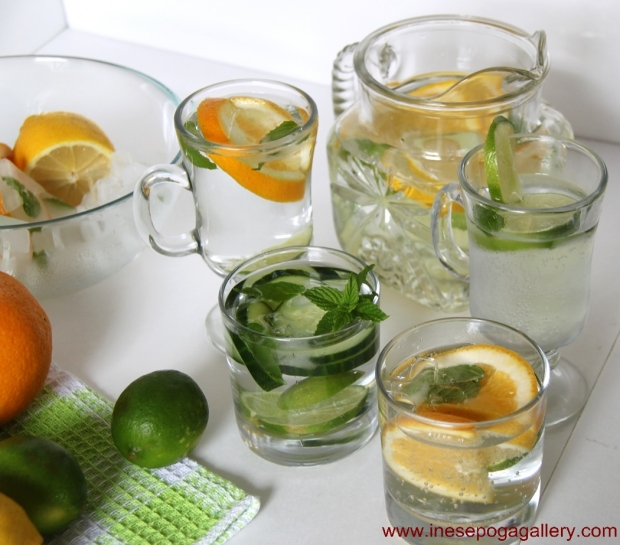 Water with lemon, orange and lime